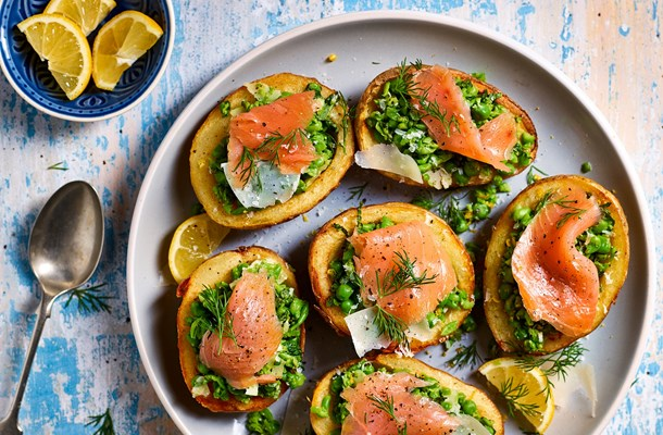 Smashed Peas-and-Smoked Salmon-Half-Potato-Skins