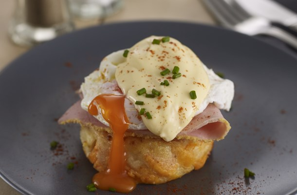 Eggs Benedict with Sweet Potato Gratin
