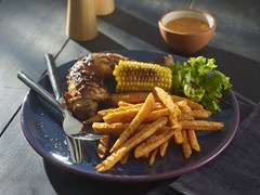Piri Piri chicken legs with Sweet Potato Fries