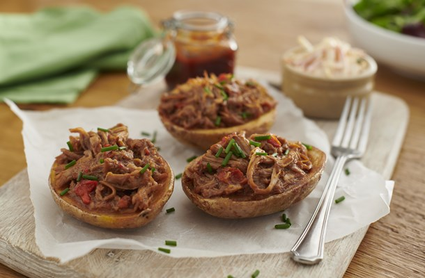 Half Potato Skins with Slow Cooked Pulled BBQ Pork