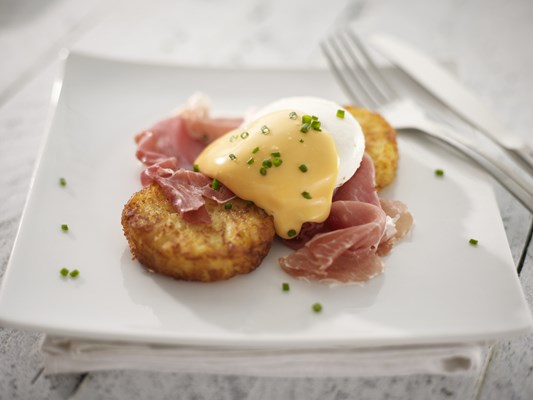 Eggs Benedict with Rostiko Rounds