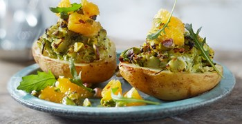 Jacket Potato With Ricotta And Orange Pistachio Sauce